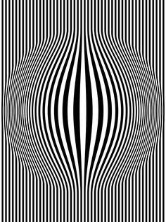 Title: Op Art Bulging Vertical Stripes Black and White