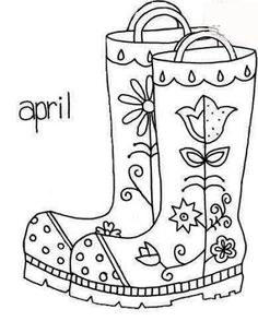 april rain boots galoshes folk art style embroidery pattern or coloring page - April Coloring Pages