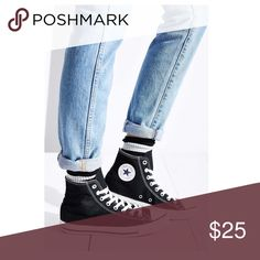 """HP✨Black High Top Converse HOST PICK """"Wardrobe Obsessions"""" (03/15/17) Super cute high top Converse! Gently loved with a few scuffs - will post picture of actual shoes ASAP! Let me know if you have any questions 😊 FYI I typically wear an 8.5 and these fit me just fine. Converse Shoes Sneakers"""