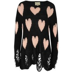"""SOFT☁️Wildfox Hearts Lennon COZY☁️Wildfox – Lennon, womens open gauge clean black knit with an all over hearts design. The knit also features long sleeves, a loose relaxed fit and a distressed finish with laddered hem and cuffs. Model is 5'9"""" and a UK size 10. 56% Acrylic, 34% nylon, 10% wool. No trades. Wildfox Sweaters"""
