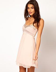 Elise Ryan Sequin Trim Chiffon Babydoll Dress