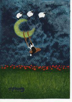 Border Collie Dog Outsider Folk Art PRINT Todd by ToddYoungArt,