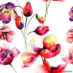 Seamless pattern with Tulips and Poppy flowers