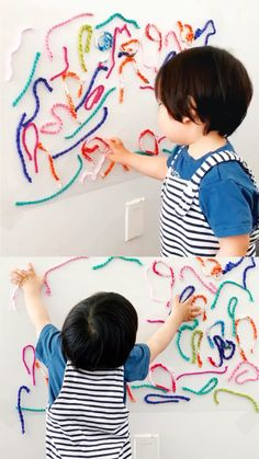 baby activities This Sticky Wall Yarn Sensory Activity is great for babies and toddler to practice fine motor skills Baby Sensory Play, Sensory Activities Toddlers, Motor Skills Activities, Montessori Activities, Infant Activities, Indoor Activities, Baby Sensory Bags, Toddler Fine Motor Activities, Baby Play