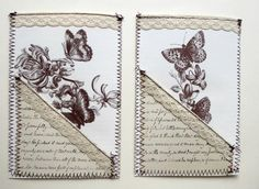 Stitched butterfly journal pockets and tags, junk journal supplies Vintage Paper Crafts, Black Thread, Vintage Tags, Christmas Bells, Book Pages, Star Print, Junk Journal, Butterfly, Scrapbook