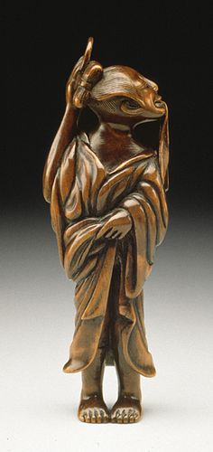 After the Bath, late 18th-early 19th century  Netsuke, Wood,
