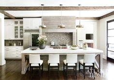 Wood and white Stunning kitchen Masterful Mix Atlanta Homes & Lifestyles Kitchen Interior, New Kitchen, Kitchen Dining, Kitchen Decor, Kitchen Ideas, Kitchen Island, Kitchen Stools, Kitchen Layout, Rustic Kitchen