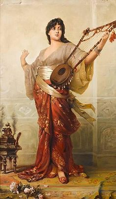 Oriental Girl with Harp