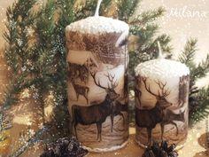 """Купить """"Нарния"""" Комплект свечей. Свеча, свечи. Декупаж - коричневый, свеча декупаж, свечи декупаж"""
