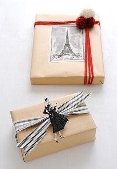 DIY fabric gift wrap: Cozy Parisian Holiday