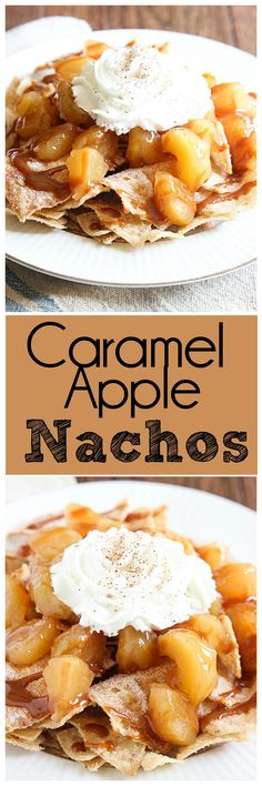 The perfect dessert for Taco Tuesday would be Caramel Apple Nachos. Cinnamon Sugar tortilla chips topped with Caramel Apple pie filling and whipped cream. It's a winner! | mandysrecipeboxblog.com