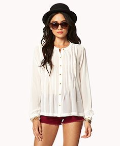 MADEMOD | Essential Accordion Pleated Georgette Top | FOREVER21