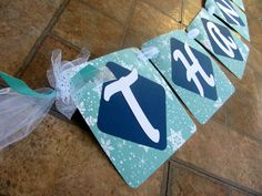 Thank You banner for wedding day photography. Created in blues and snowflakes by Banana Lala Party Designs & More.