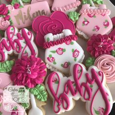 Trendy baby shower cookies for girl royal icing pink Baby Shower Cupcakes For Girls, Baby Shower Food For Girl, Baby Shower Cake Pops, Baby Shower Cookies, Shower Cakes, Girl Shower, Baby Shower Floral, Elegant Baby Shower, Baby Shower Flowers
