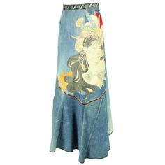1970's Roberto Cavalli Appliqued Denim Skirt | From a collection of rare vintage skirts at http://www.1stdibs.com/fashion/clothing/skirts/