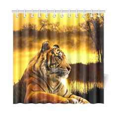 "Tiger and Sunset Shower Curtain 72""x72"". FREE Shipping. FREE Returns."