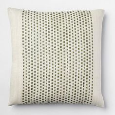 Embroidered Dot Silk Pillow Cover - Green Tea #westelm