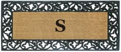 NEDIA Enterprises Monogrammed Acanthus Rubber Coir Mat | seattleluxe.com