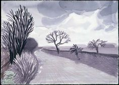 "David Hockney  ""Hand Eye Heart"" Watercolors of the East Yorkshire Landscape, The Road to Rudston, 2004"