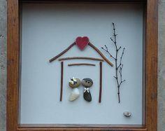 Pebble Art, Rock Art, Pebble Art Couple, Rock Art Couple, Pebble Art Wedding, shell art, seashell art, 9x9x2 shadowbox (Free Shipping)