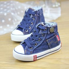 2014 Spring Denim Canvas Baby Boys  Girls Shoes Kids Sport  Running Children Shoes Sneakers / Boots US $18.99