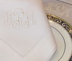 Gwyn Monogrammed Napkins, Placemats, Table Runners, Table Cloths, Guest Towels and other linens. http://bellalino.com/Luxury%20Table%20Linens/gwyn_signature_table.htm