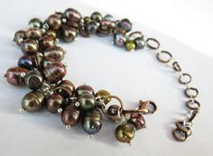 Fresh Water Pearl and Copper Cluster Dangle bracelet by GypsyDreamerCafe, $32.50