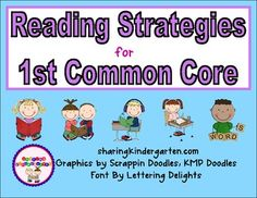 "Visual reading strategies for 1st grade common core... includes an ""I Can"" poster"