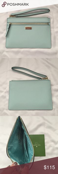 NWT Kate spade wristlet New with tags light blue Kate spade wristlet. Wristlet is about 7.25 inches across and 5 inches tall. kate spade Bags Clutches & Wristlets