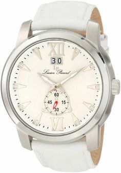 Lucien Piccard Men's A2203SL Alpha White Textured Dial Watch Lucien Piccard. $134.99. White textured dial with silver tone hands, hour markers and roman numerals at 12:00 and 6:00; luminous. Water-resistant to 50 M (165 feet). 60 second subdial at 6:00 with red hand and big date display at 12:00. Mineral crystal; stainless steel case; white leather strap. Swiss quartz movement