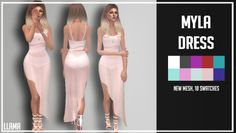 """llamainthehill: """" MYLA DRESS BY Llama New Mesh, 10 swatches DOWNLOAD HERE IF YOU HAVE ANY PROBLEM, REQUEST, ETC, LET ME KNOW. ENJOY! """""""
