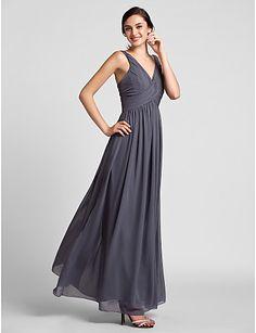 Sheath/Column V-neck Floor-length Chiffon Bridesmaid Dress – GBP £ 65.69
