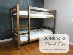 Building a Bunk Bed at Our Home Notebook.  They used Ana White's plan and made a few adjustments.