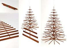 modern christmas tree. love this idea. i already have a bunch of wood slats that would be great for it