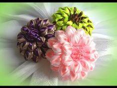 Красивые цветы канзаши из ленты 5 см, мк /DIY satin ribbon flower, kanzashi - YouTube