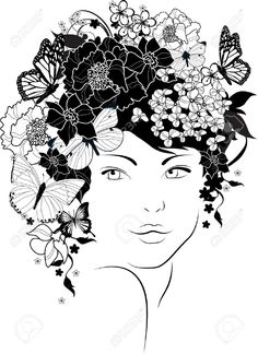 13688634-The-beautiful-girl-with-flowers-in-hair-Stock-Vector-black-white-drawing.jpg (946×1300)
