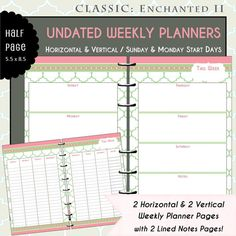 US Half Page Printable Horizontal & Vertical Weekly Planner with Lined Notes Pages in Pink & Green Quatrefoil - Enchanted II  from myunclutteredlife, $3.00