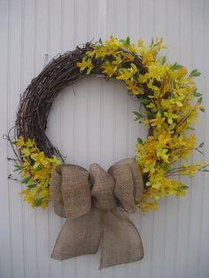 Forsythia & Burlap Spring Wreath by ATPitman on Etsy, $