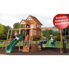 Delivery and installation included (not available in all areas, see below for details).  Made from cedar, this swing set is delivered to your