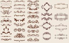 Retro themed huge set of floral ornaments around 40 different styles designed with several swirling curly floral steams, creeper leafs, small flower petals, abstract lines, decorative borders and other elements in various layout and shape in brown color scheme.