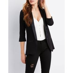 070cacf2e6c53 Charlotte Russe Long Satin Detail Blazer ( 25) ❤ liked on Polyvore featuring  outerwear