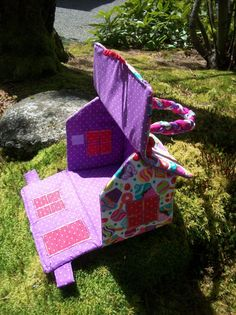 Handmade Fabric Doll House Purse Tote Basket with by ChulaChalupa, $50.00