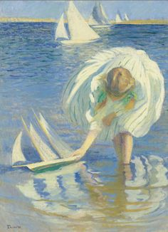 Girl with Sailboat Edmund Tarbell....this is adorable