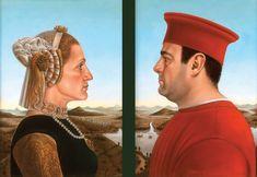 "Artist: Federico Castelluccio    Love this one, Carmella and Tony Soprano!    Duke and Duchess of North Coldwell    Oil poplar panel two panels  16"" x 11""  Private Collection, Toronto, Canada"