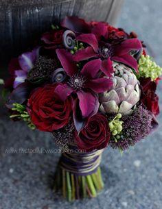 Jeweled Toned Bridal Bouquet with Artichokes. www.twistedwillowweddings.com