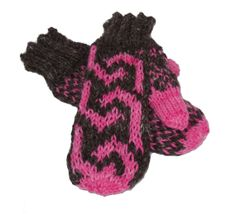 Warm Brown and Pink Mittens  Hand knit Homespun by hideandhair, $40.00