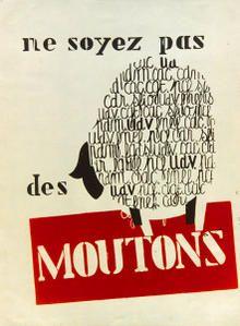 """May, 1968 student riots - Paris """"Don't be sheep"""""""