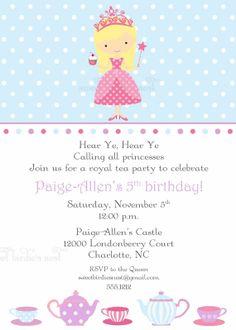 Little princess tea party invitations wording to invite girls to princess tea party invitation by sweetbirdiesnest on etsy 2800 stopboris Images