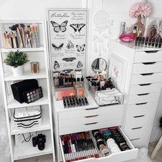 Makeup Drawer Organization, Makeup Storage, Ikea Alex Drawers, How To Make Box, Drawer Unit, Jewelry Tray, Decorative Storage, Beauty Room, Living Room