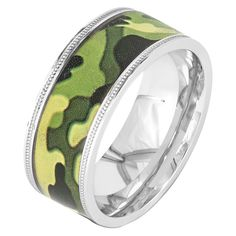 Men's Crucible Stainless Steel Camouflage Ring - Green (11), Camoflage/Silver